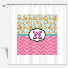 Pink Chevron Owls Monogram Shower Curtain