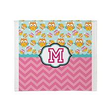 Pink Chevron Owls Monogram Throw Blanket