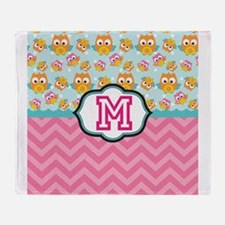 Pink Chevron Owls Monogram Throw Blanket