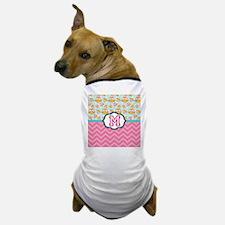 Pink Chevron Owls Monogram Dog T-Shirt