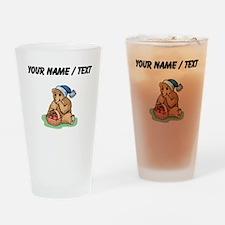 Custom Bear Eating Strawberries Drinking Glass