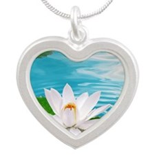 lotus with water Silver Heart Necklace