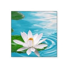 "lotus with water Square Sticker 3"" x 3"""