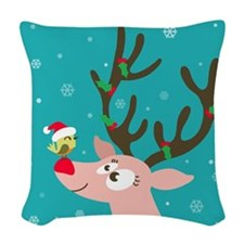 Christmas Cute reindeer and bi Woven Throw Pillow