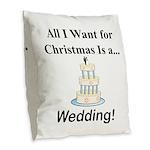 Christmas Wedding Burlap Throw Pillow