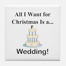 Christmas Wedding Tile Coaster