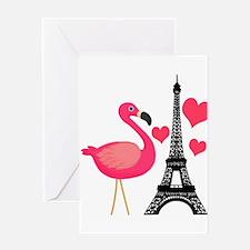Pink Flamingo in Paris Greeting Cards