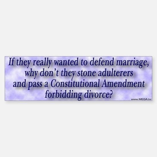 Defense of Marriage Bumper Bumper Bumper Sticker