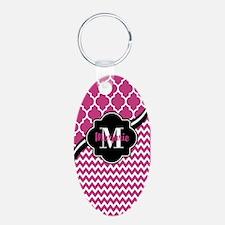 Pink and Black Quatrefoil C Keychains