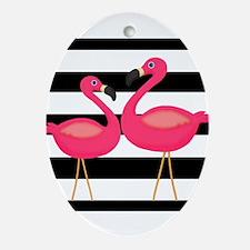 Pink Flamingoes Black Stripes Ornament (Oval)