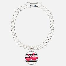 Pink Flamingoes Black Stripes Bracelet