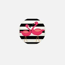 Pink Flamingoes Black Stripes Mini Button