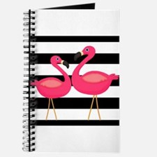 Pink Flamingoes Black Stripes Journal
