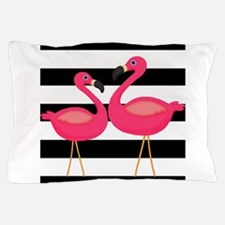 Pink Flamingoes Black Stripes Pillow Case