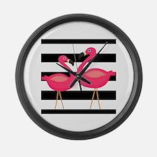 Pink Flamingoes Black Stripes Large Wall Clock