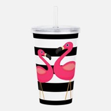 Pink Flamingoes Black Stripes Acrylic Double-wall
