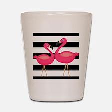 Pink Flamingoes Black Stripes Shot Glass