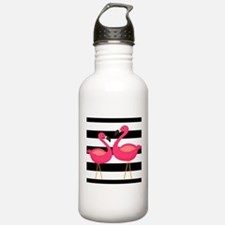Pink Flamingoes Black Stripes Water Bottle