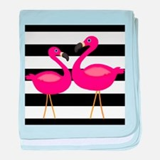Pink Flamingoes Black Stripes baby blanket