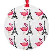 Pink Flamingos Paris Pattern Ornament
