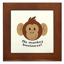 No Monkey Business Framed Tile