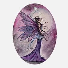 Starlit Amethyst Fairy Art Ornament (Oval)