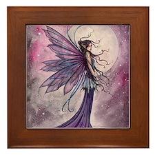 Starlit Amethyst Fairy Art Framed Tile