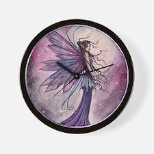 Starlit Amethyst Fairy Art Wall Clock