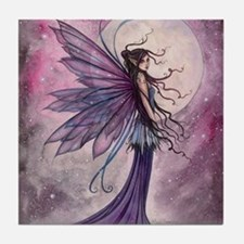 Starlit Amethyst Fairy Art Tile Coaster