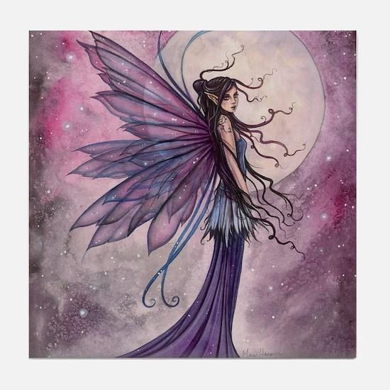Starlit Amethyst Fairy Art Tile Coaster