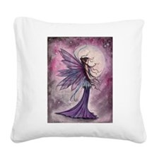 Starlit Amethyst Fairy Art Square Canvas Pillow