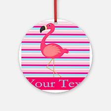 Personalizable Pink Flamingo Stripes Ornament (Rou