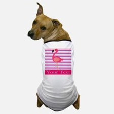 Personalizable Pink Flamingo Stripes Dog T-Shirt