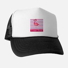 Personalizable Pink Flamingo Stripes Trucker Hat