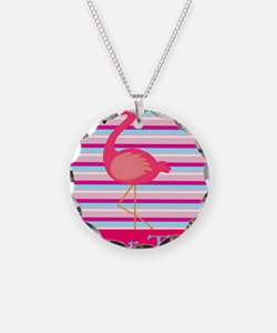 Personalizable Pink Flamingo Stripes Necklace