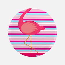 "Personalizable Pink Flamingo Stripes 3.5"" Button"