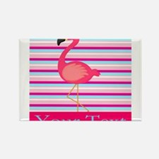 Personalizable Pink Flamingo Stripes Magnets