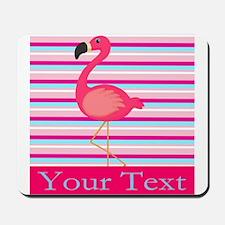 Personalizable Pink Flamingo Stripes Mousepad