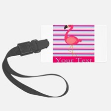 Personalizable Pink Flamingo Stripes Luggage Tag