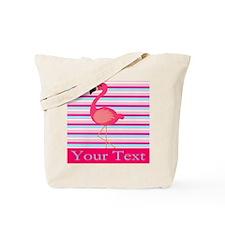 Personalizable Pink Flamingo Stripes Tote Bag