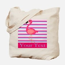 Personalizable Pink Flamingo Stripes Tote Bag