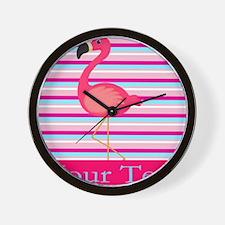 Personalizable Pink Flamingo Stripes Wall Clock