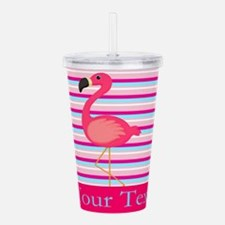Personalizable Pink Flamingo Stripes Acrylic Doubl