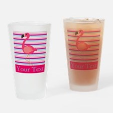 Personalizable Pink Flamingo Stripes Drinking Glas