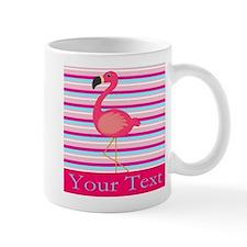 Personalizable Pink Flamingo Stripes Mugs