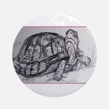 Turtle, tortoise, nature art Ornament (Round)