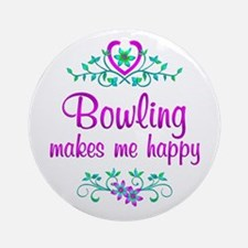 Bowling Happy Ornament (Round)