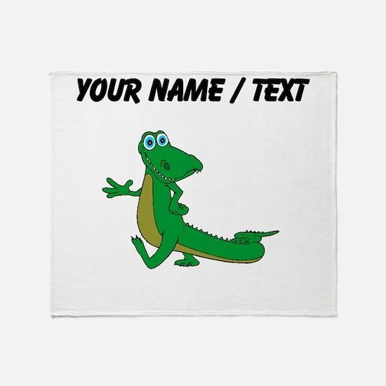 Custom Cartoon Alligator Throw Blanket