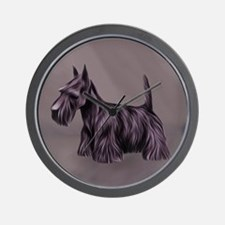 Oil Painted Scottish Terrier, Scottie Wall Clock