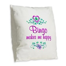 Bingo Happy Burlap Throw Pillow